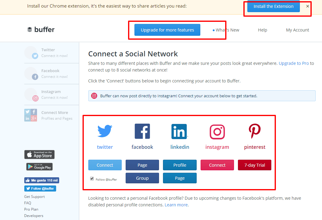 buffer conecta redes sociales