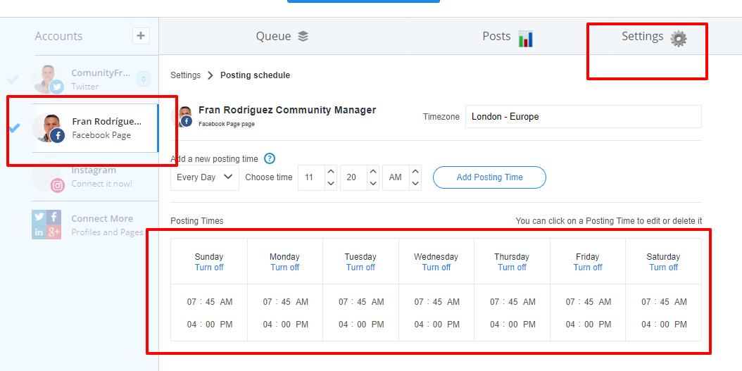 horarios  para programar en bufer